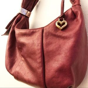 BRIGHTON Red Leather Hobo Bag